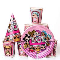 Набор детской празничной бумажной посуды куклы лол розовый