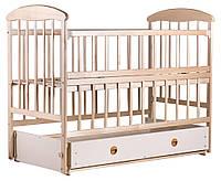 Детская кроватка Наталка откидная боковина, с маятником и ящиком (ольха) светлая