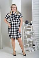 Платье рубашка больших размеров серая клетка