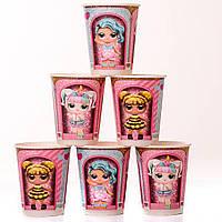 Стаканчики детские розовые куклы лол 10 шт