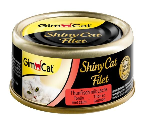 Консервы для кошек с тунцом и лососем GimCat ShinyCat Filet в бульоне 70 г