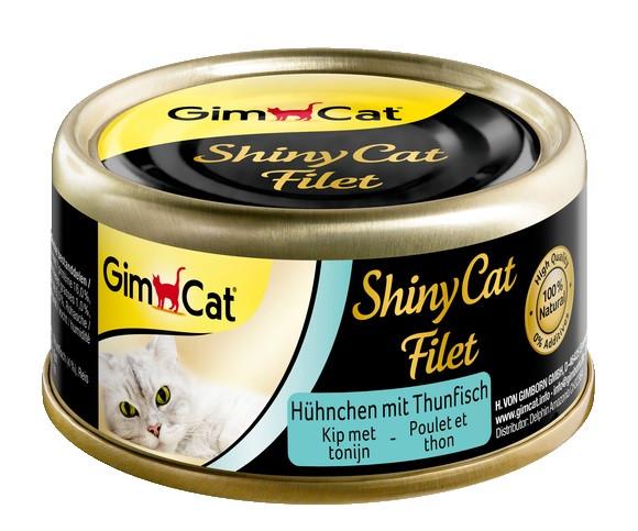 Консервы для кошек с курицей и тунцом GimCat ShinyCat Filet в бульоне 70 г