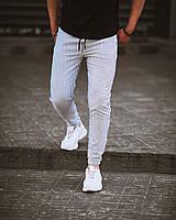 Мужские спортивные штаны белые в черную полоску легкие летние