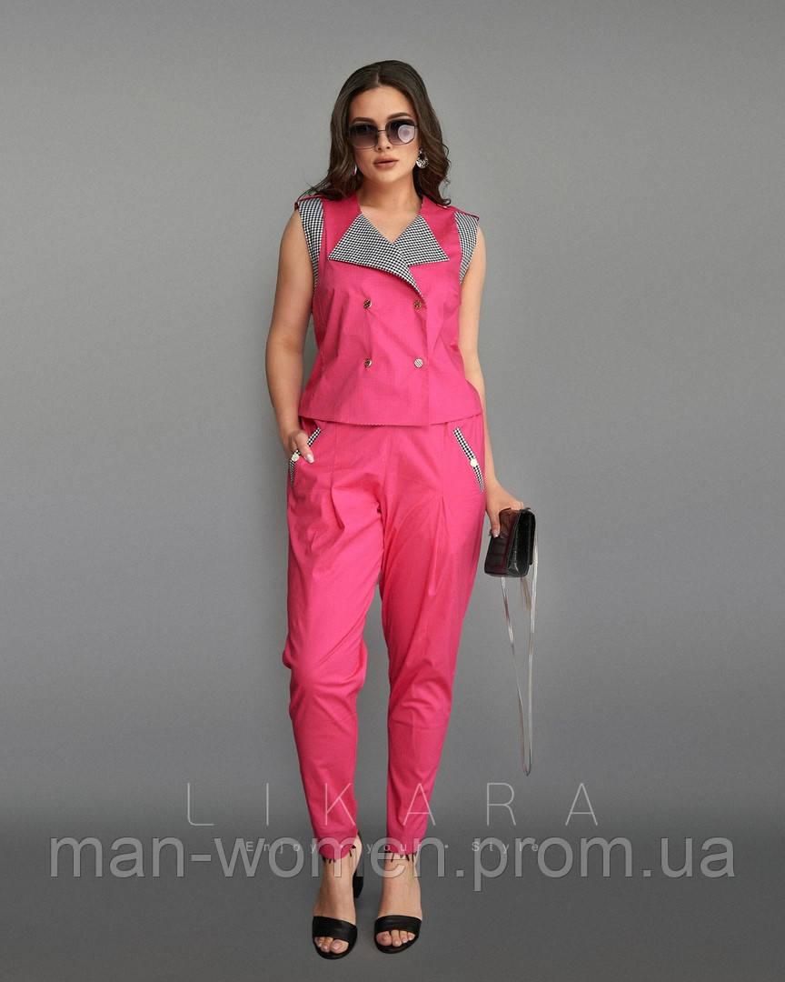 Стильный костюм двойка для современных девушек - Размеры: 58,60,62; РОЗНИЦА +30грн