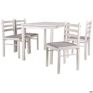 Обеденная мебель AMF Брауни стол+4 стула деревянные белый шоколад латте
