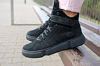 Женские ботинки замшевые зимние черные-нубук Road-style БС105-01Z