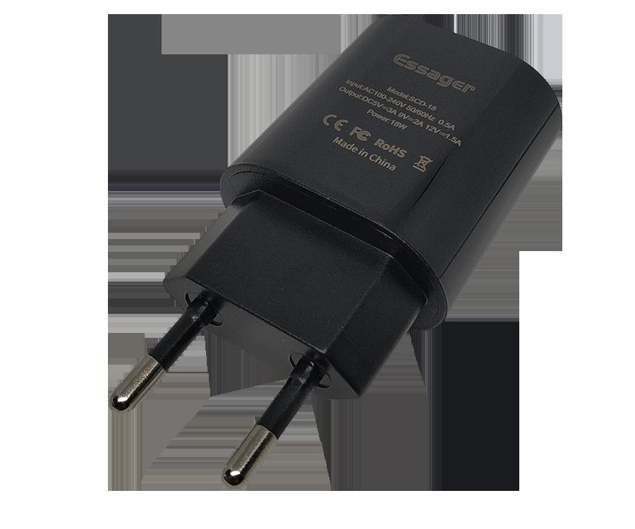 Мережевий зарядний пристрій Essager XZD, Quick Charge 3.0, 18W чорного кольору