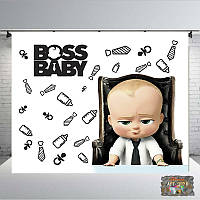 Дизайн ДН БЕСПЛАТНОБанер 2.5х2,3х2.Boss Baby/ / для хлопчика.Печать баннера  Фотозона Замовити банер 