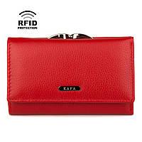 Кошелек женский кожаный красный компактный Kafa с rfid-блокировкой