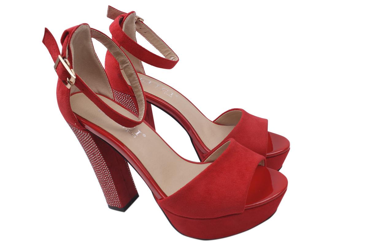 Босоножки женские на каблуке Liici эко-замша, цвет красный