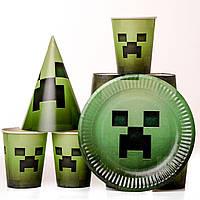 Набор одноразовой детской посуды майнкрафт