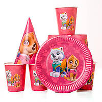 Набор одноразовой посуды розовый щенячий патруль