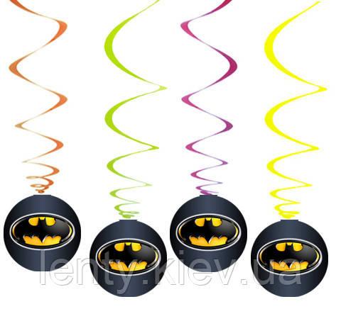 """Гирлянды-подвески (6 шт/уп.) """"Бетмен/Бэтмен"""" черный (спиральки бумажные Редкие малотиражные) -"""