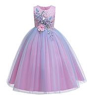 Платье нежно-розовое с голубым бальное выпускное длинное в пол нарядное для девочки в садик или школу