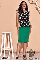 Костюм двойка из однотонной юбки и свободной блузы в крупный горох с 48 по 62 размер