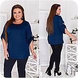 Стильный комфортный костюм блуза + брюки из трикотажа дайвинг, р.48-50,52-54,56-58,60-62,64-66 код 3332Ф, фото 4