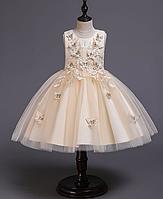 Сукня з метеликами на спідниці шампань ошатне для дівчинки в дитячий сад., фото 1