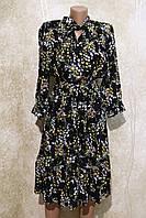 Модное женское летнее платье в растительных узорах с поясом. Жіноче плаття в рослинних узорах.