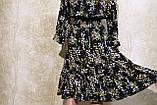 Модное женское летнее платье в растительных узорах с поясом. Жіноче плаття в рослинних узорах., фото 6
