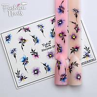 Слайдер дизайн 3D Хрусталь для ногтей - водные наклейки для ногтей Fashion Nails Цветочки со стразами