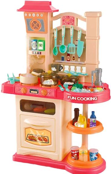 Детская игровая интерактивная кухня Bozhi Toys Fun Cooking с водой и холодным паром розовая