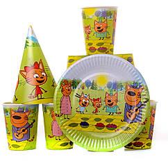 Набор детской бумажной праздничной посуды три кота