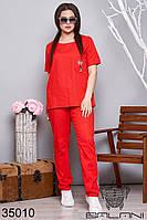 Спортивный женский костюм красный льняной батал (размер от 50 до 64)