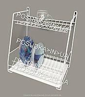 Сушилка для посуды двухярусная навесная Каскадная 400 мм белая ST-24221