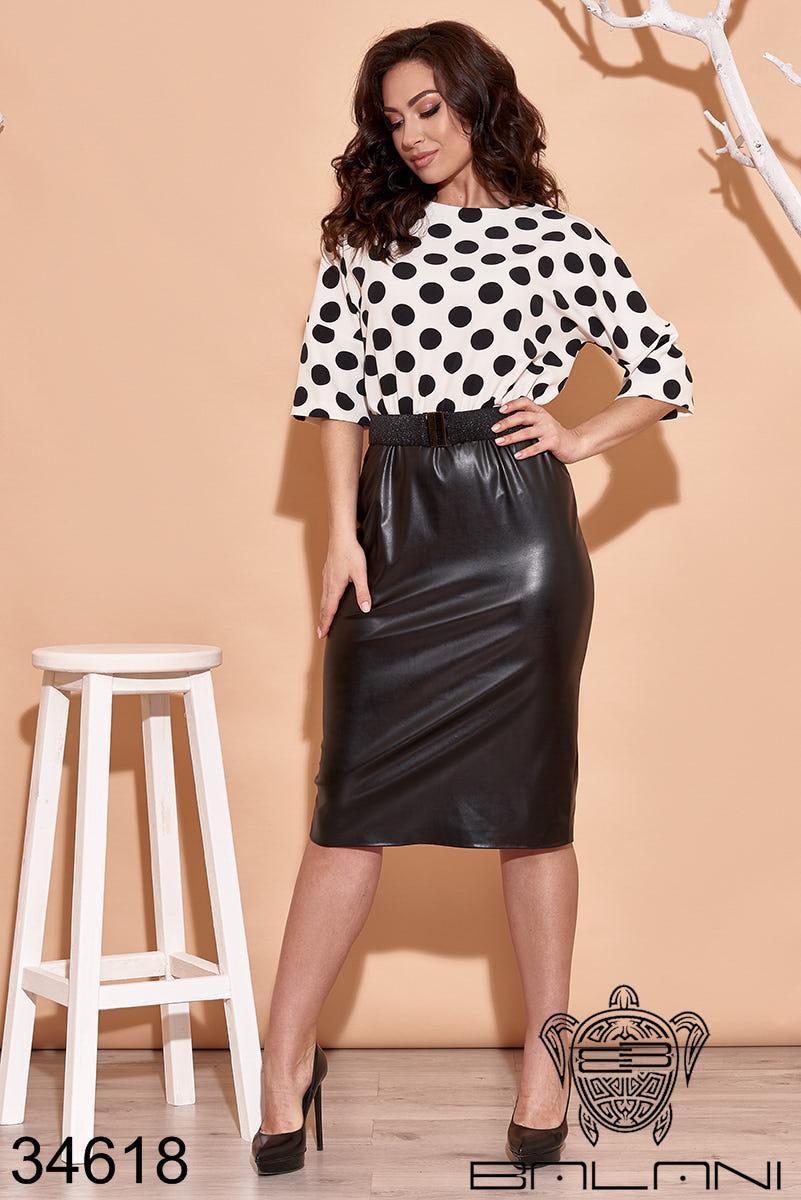Стильне плаття-костюм з чорним шкіряним низом і білим верхом в горошок з 48 по 62 розмір