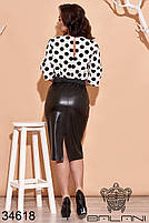 Стильне плаття-костюм з чорним шкіряним низом і білим верхом в горошок з 48 по 62 розмір, фото 3