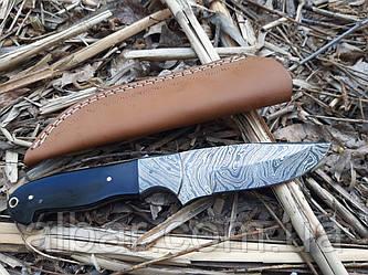 Нож охотничий из дамасской стали рукоять рог буйвола s-65 ручная работа cpa