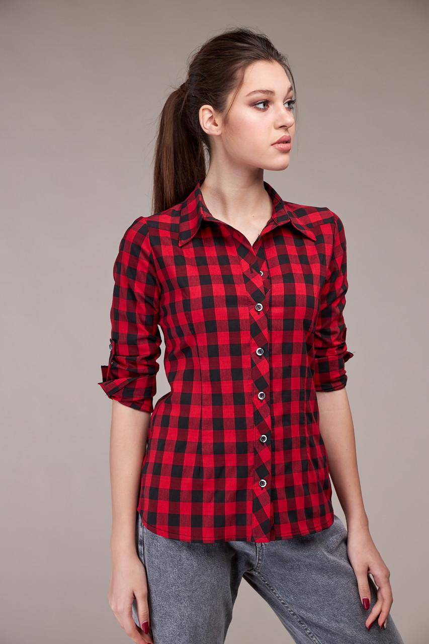 Классная рубашка в клеточку, размер от 42 до 54