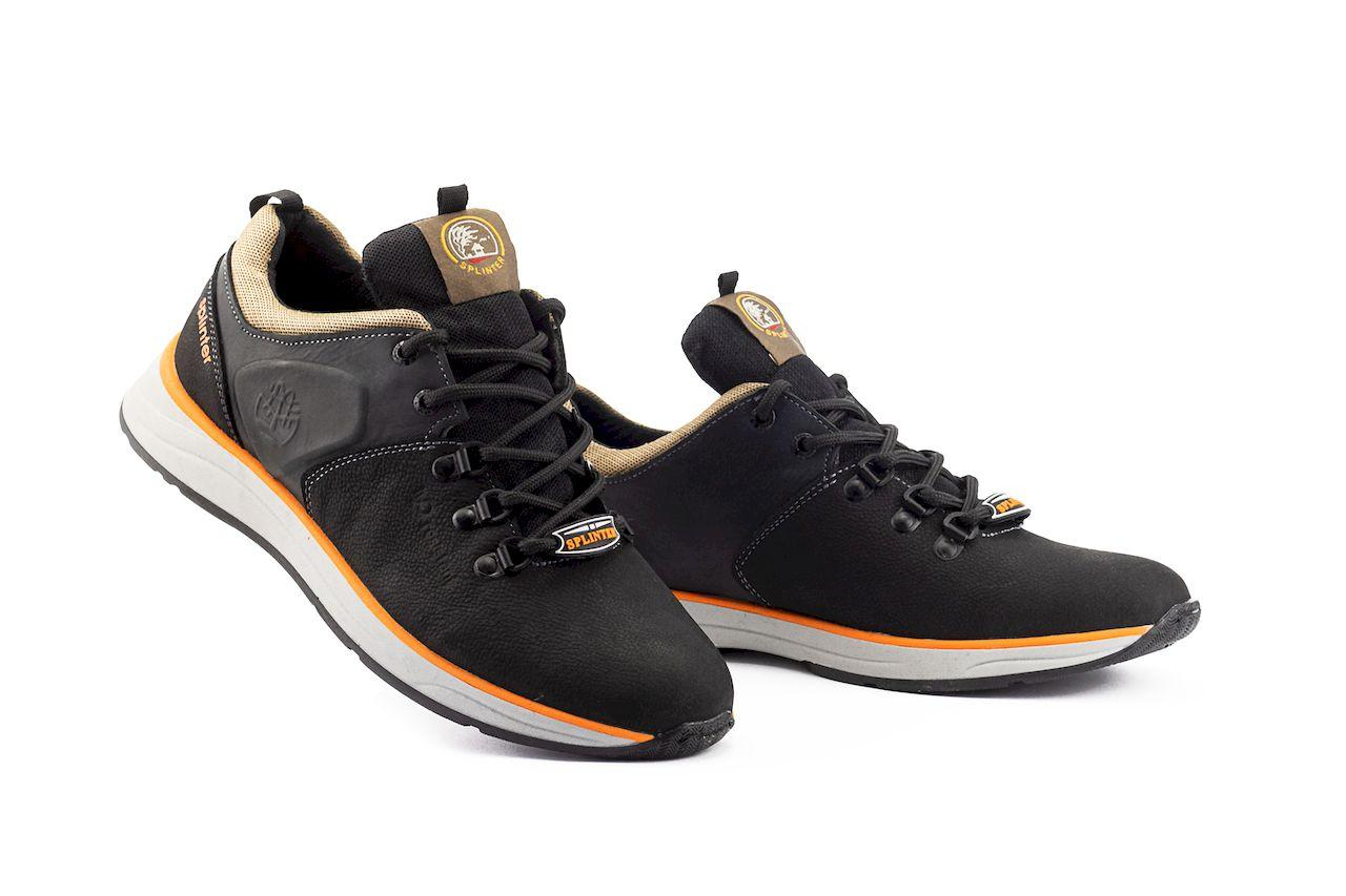 Мужские кроссовки кожаные весна/осень черные Splinter 0920