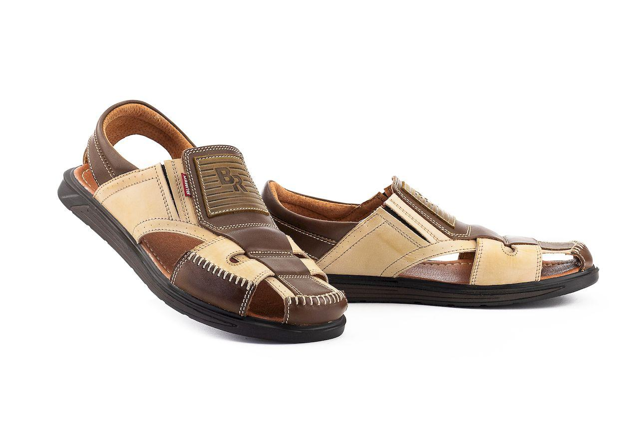Мужские сандали кожаные летние бежевые-коричневые Bumer Premium 901