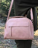 Небольшая розовая женская сумка чемоданчик сумочка клатч классическая пудра кожзам