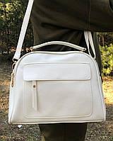Небольшая белая женская сумка чемоданчик сумочка клатч классическая модная кожзам