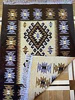 Двостороння доріжка шерстяна коричневий ромб 90*60 см, фото 1
