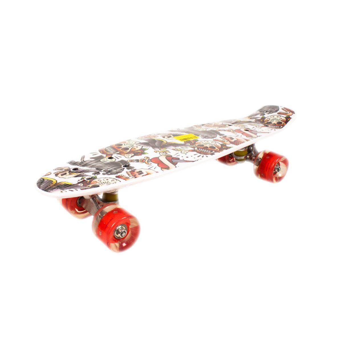 Скейт Penny Board PU колеса с подсветкой пенни борд белый