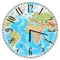 Декоративний настінний круглий годинник, 36 см Карта