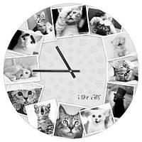 Декоративний настінний круглий годинник, 36 см Котики