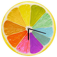 Декоративний настінний круглий годинник, 36 см Різнокольоровий лимон