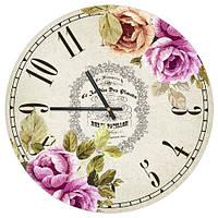 Декоративний настінний круглий годинник, 36 см Квіти 2