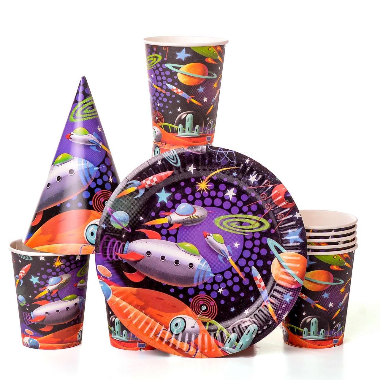 Набор детской одноразовой посуды с колпачками космос на 10 персон
