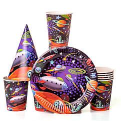 Набор детской бумажной посуды космос