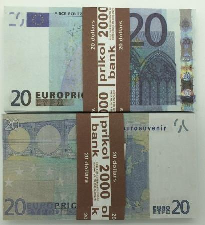 Деньги сувенирные 20 евро - 80 шт, арт. EUR-20