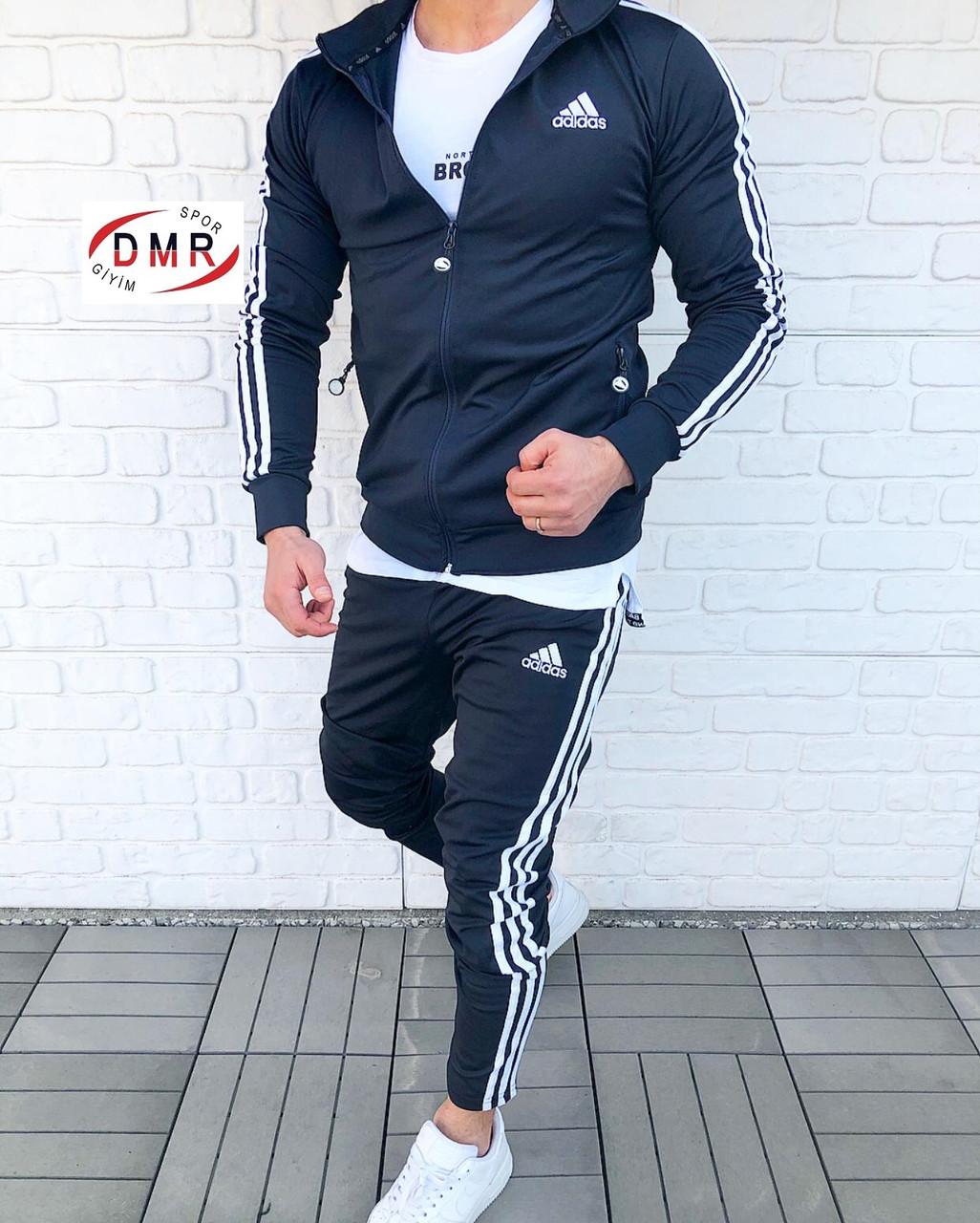 Мужской спортивный костюм Адидас черно-белый