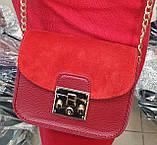 Женские маленькие клатчи с клапаном из натуральной замши внутри с кошелечком на молнии 18*14 см, фото 2