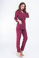 Женский брючный костюм в полоску цвет марсала, арт 195, фото 1