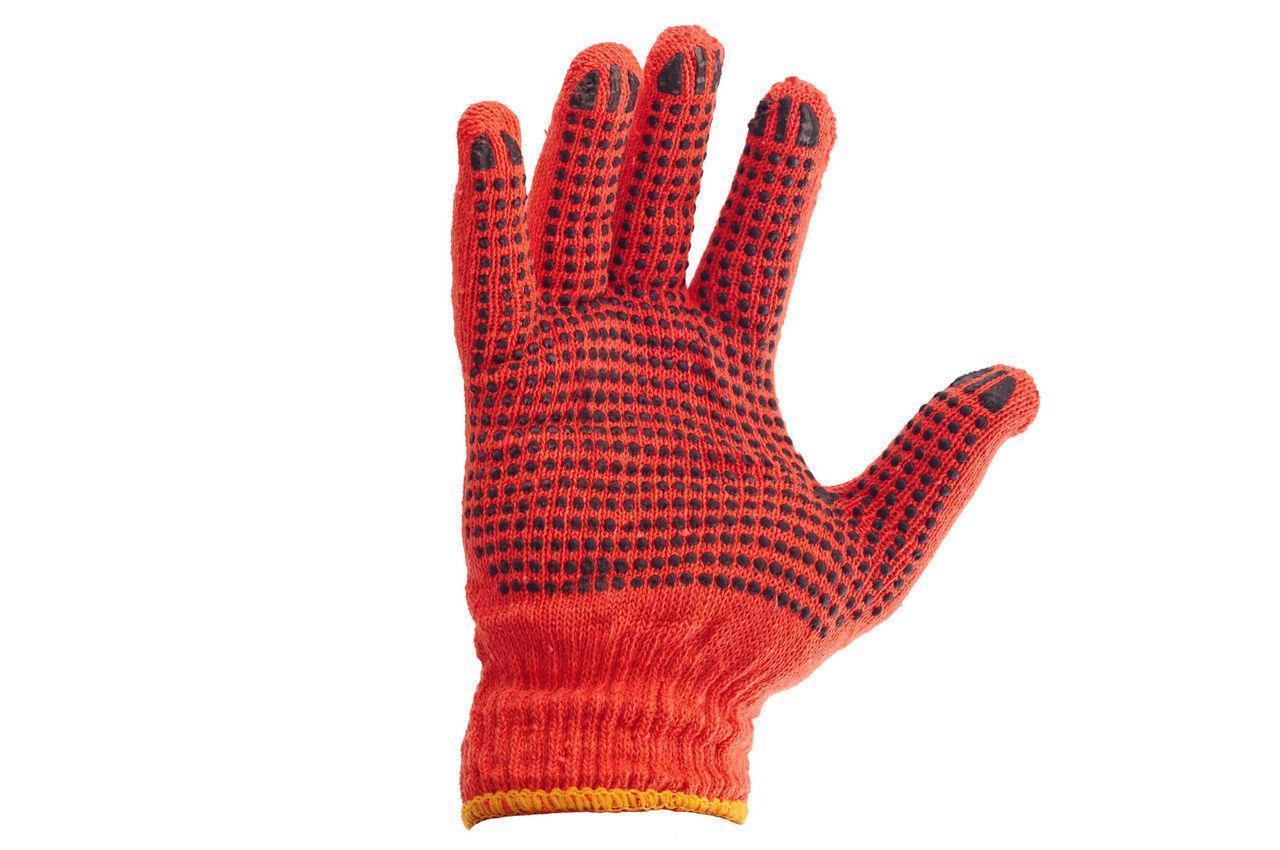 Перчатки рабочие оранжевые в точку , в упаковке 12 пар в мешке 600 пар
