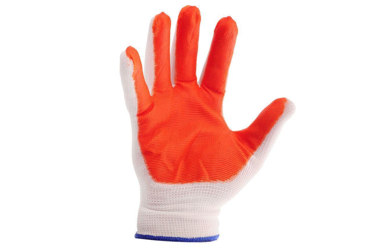 Перчатки рабочие стрейчевые оранжевые, в упаковке 12 пар в мешке 600 пар